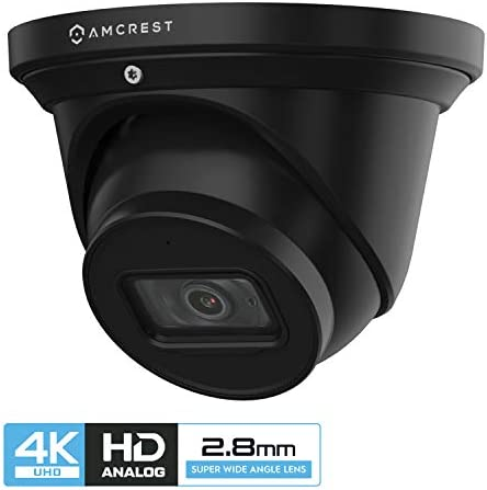 Amcrest ProHD 4K Dome Outdoor Security Camera, 4K 8-Megapixel , Analog Camera, 164ft Night Vision, IP67 Weatherproof Housing, 2.8mm Lens, 110 Wide Angle, Built-in Microphone, Black AMC4KDM28-B