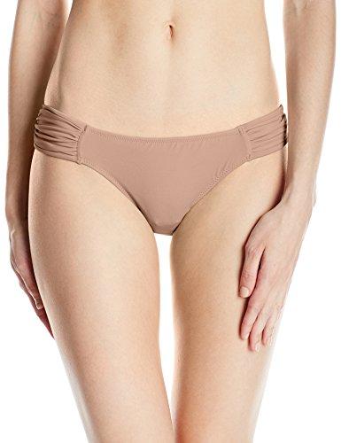 Smart & Sexy Women's Swim Secret Side Ruched Bikini Bottom, Caramel, L (Smart Sexy)