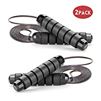 GoxRunx Jump Rope, Skipping Rope with Anti-Slip Handles Ideal for Workout, Training, Fitness & Cardio - Rapid Speed Rope Crossfit Jump Ropes for Women, Men, Kids, 2 Pack(Black)