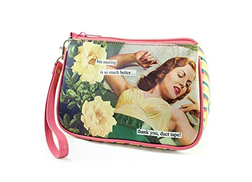 Anne Taintor Matte Vinyl Travel Cosmetic Bag - Thank You Duct Tape