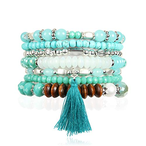 (RIAH FASHION Bohemian Multi-Layer Sparkly Crystal Bead Statement Bracelet - Versatile Stretch Strand Delicate Stackable Cuff Bangle Set Tassel Charm (Boho Wood Mix - Turquoise Mint))