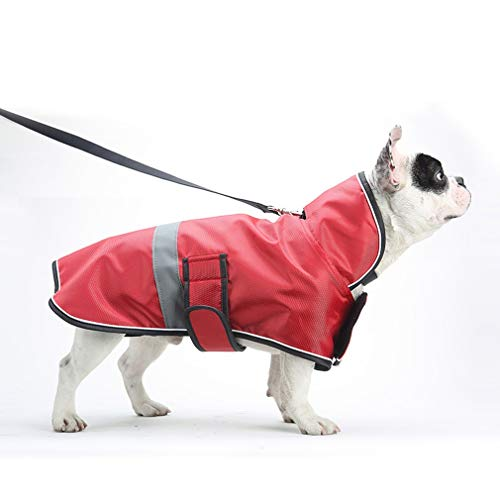 MAZORT Pet Reflective Sport Stand Collar Dog Windbreaker Raincoat Deluxe Dog Coat for Small to Large Dogs Red 10 ()