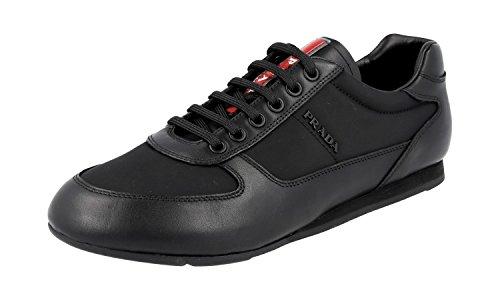 (Prada Men's Calfskin Leather with Nylon Trainer Sneaker, Black (Nero) 4E2777 (10.5 US UK 9.5))