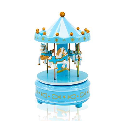 HahaBear Vintage Wooden Horses Rotating Music Box Christmas Birthday Gift Carousel Music Box, Clockwork Mechanism Laxury Carousel Music Box, Birthday Cake Topper (Blue)