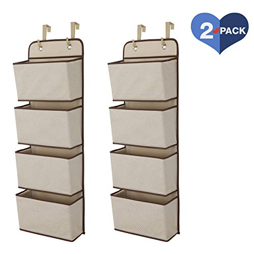 Delta Children 4 Pocket Over The Door Hanging Organizer, 2 Pack, Beige/Tan