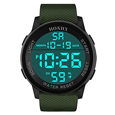 Mens Watch Sports Waterproof Stopwatch Alarm Analog Digital LED Screen Large Face Military Watches for Men