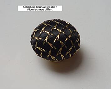 6 Designknöpfe 10 mm mit Stoff bezogen schwarz mit Goldgitter