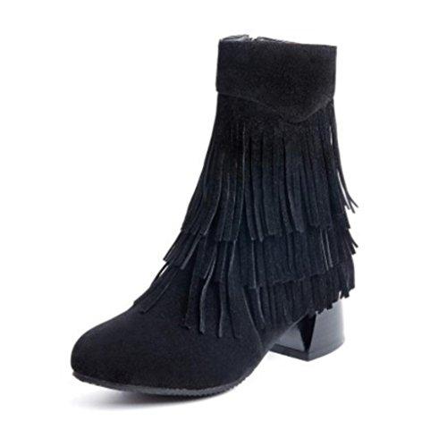 KUKI autumn and winter women boots round lead boots zipper boots cheap boots light casual boots Black
