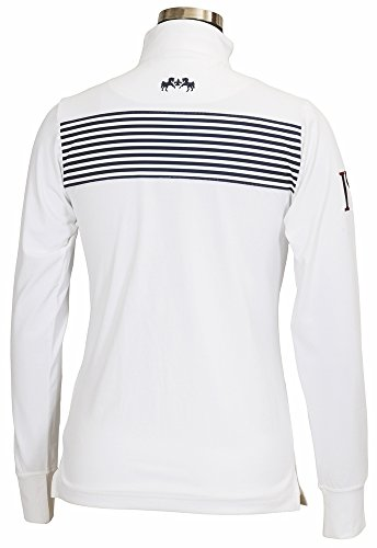 - Equine Couture Women's Patriot Long Sleeve Polo, White, 1X