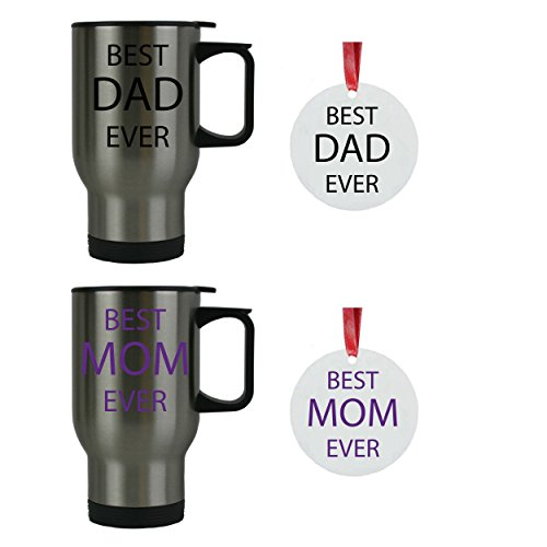 Best Dad Ever + Best Mom Ever Stainless Steel Travel Coffee Mugs Bundle with 3-inch Aluminum Christmas Ornaments (Black, Purple) - Great for Expecting Grandpas, Grandmas for Dad, Mom