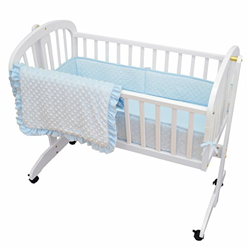 TL Care Heavenly Soft Minky Dot 3 Piece Cradle Set, Blue, for Boys and -