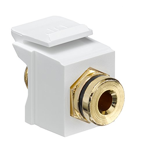 - Leviton 40837-BWE QuickPort Banana Jack Adapter, Gold-Plated with Black Stripe, White