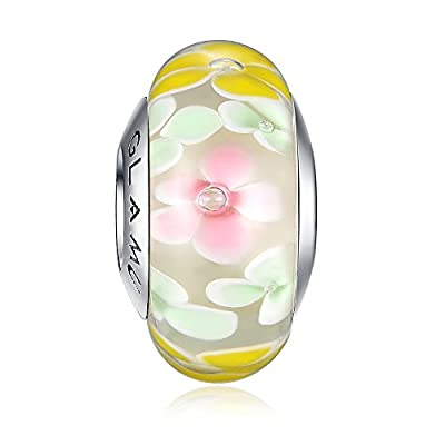 Glamulet Strassed Murano Charm Glass Bead 925 Sterling Silver Fits Pandora Bracelets from Glamulet