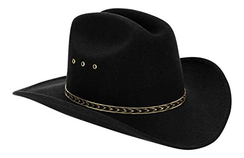Western Black Child Cowboy Hat for Kids (Black/Gold Band)]()