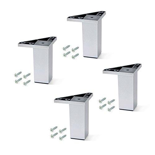EMUCA - Pies para Muebles de plastico Gris Metalizado, Patas para Mueble, Lote de 4 pies de Altura 120mm con Tornillos de Montaje