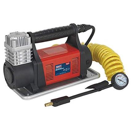 Sealey MAC07 Mini compresor de aire, Rojo, Juego de 12 piezas