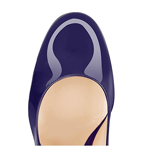 uBeauty Womens High Block Heel Courts Shoes Round Toe Pumps Slip on Basic Shoes Closed Toe Sandals Party Navy Llj7IOK