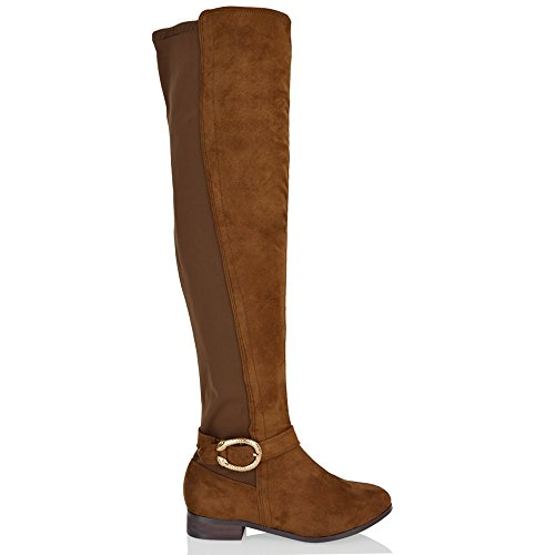 Womens Elastic Ladies Mocca ESSEX Boots Over Stretch The Buckle Heel Block Suede New Knee Faux GLAM Zip High 1qqZ7E