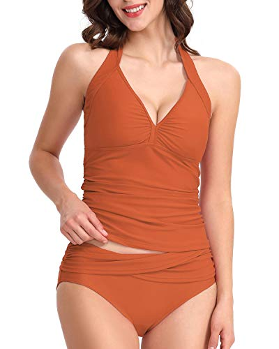 HAIVIDO Women's Halter Ruched Tankini Top with Matching Brief Two Piece Set Rust S ()