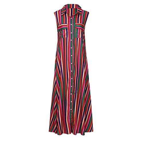 - Sanyyanlsy Women's Plus Size Rainbow Color Striped Button Turn-Down Neck Sleeveless Pocket Floor-Length Dress Beach