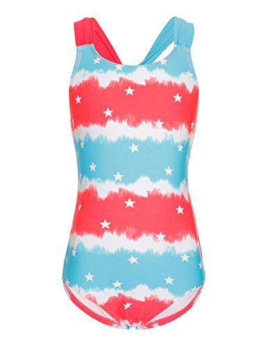 LEINASEN One Piece Bathing Suits for Girls, Scrunch Racer Back, Size 6-16 - Red Girl Racer