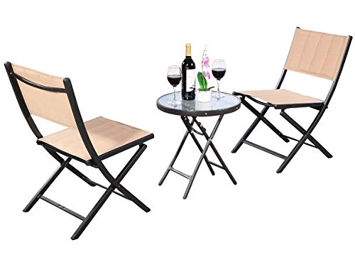 K&A Company Set Patio Table Chairs Iron Vintage Dining Woodard Wrought Mid Century Chair Cast Aluminum Folding Steel 3 pcs (Furniture Iron Wrought Mid Century Patio)