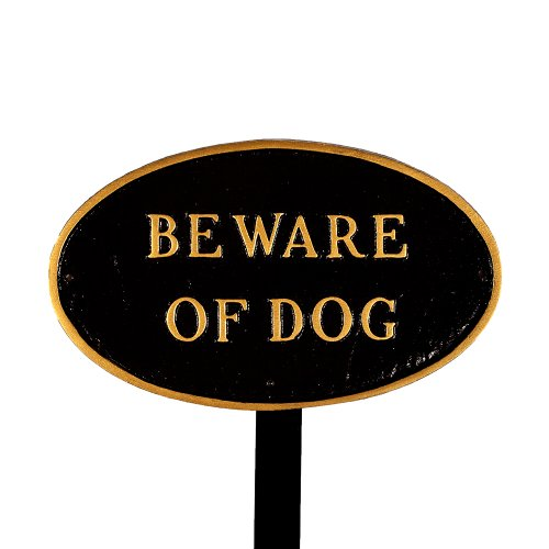 Montague Metal Products SP-5sm-BG-LS Small Black and Gold Beware of Dog Oval Statement Plaque with 23-Inch Lawn Stake by Montague Metal Products
