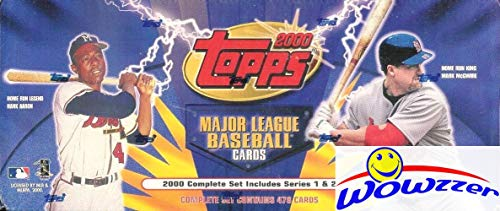 2000 Topps MLB Baseball Factory Sealed Complete 478 Card MASSIVE Factory Set! Loaded with Stars & Rookies including Derek Jeter, Mark McGwire, Cal Ripken, Ken Griffey Jr, Greg Maddux & More! WOWZZER! ()