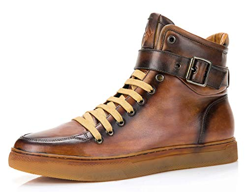 (Jump Newyork Men's Sullivan Tan Round Toe Metallic Reptile Stamped Leather Lace-Up Inside Zipper and Strap High-Top Sneaker 12 D US Men)