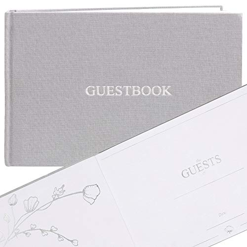 FLUYTCO Wedding Guest Book (120 Pages) - Linen Hardcover - Sign-in & Registry Guestbook - Silver Foil Stamping, Gilded Edges and Silver Page Marker - 7.5