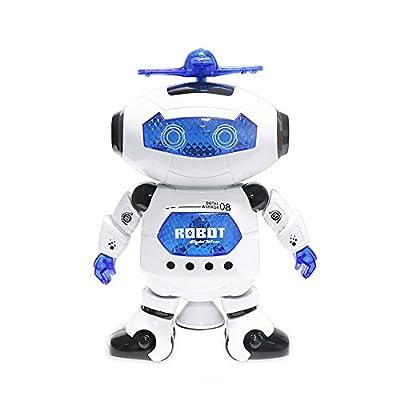 Dancing Robot DeXop-Babrit 360 Degree Electric Rotating Robot with Music and Flashing Lights Endless Fun Robot Toy