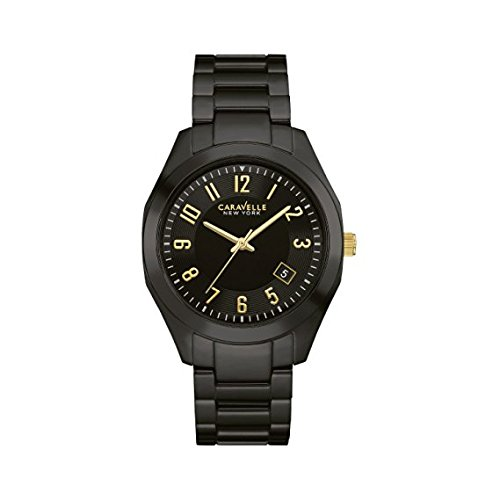 Caravelle Black Dial - Caravelle New York Women's Quartz Watch with Ceramic Strap, Black (Model: 45M109)