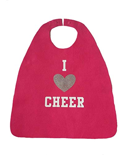 I Love Cheer Kids Cape - Cheerleader Gift for Christmas (pink/white/silver) -