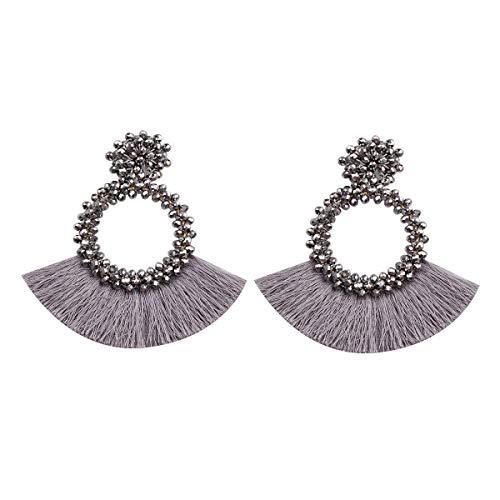 HAO HONG Tassel Beads Statement Hoop Handmade Drop Dangle Earrings for Women White for Daily Wedding Party Gift (Grey)