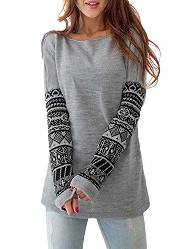 Fleece Print Pullover (POGTMM Women's Long Sleeve Geometric Print Fleece Pullover Hoodied Sweatshirt Tops (L, Gray))