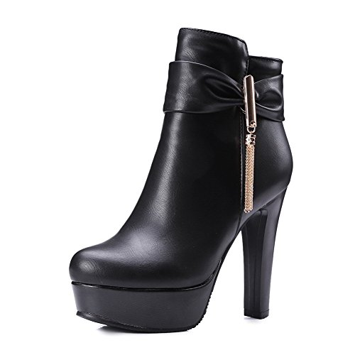 AgooLar Women's Round Closed Toe Low Top High Heels Solid Pu Boots with Charms Black