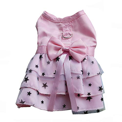 petalk Dog Dress D-Ring Pet Harness Dress Starry Tulle Skirt Princess Pink (M) ¡