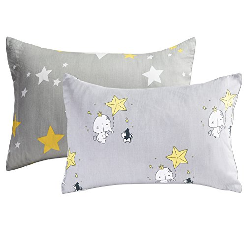 Kids Toddler Pillowcases 2 Pack 100% Cotton Pillow Cover Cases 14 x 19