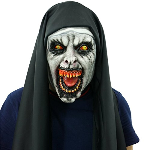 Nun Latex Mask Scary Zombie Witch Black Hood Realistic Halloween Women Costume Masquerade