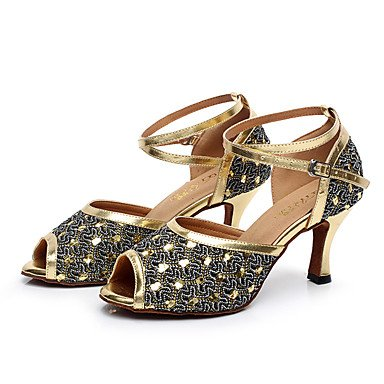 XIAMUO Nicht anpassbar - Die Frauen tanzen Schuhe Leder Leder Latin/Moderne Turnschuhe Ferse Praxis, Silber, US5/EU 35/UK3/CN34