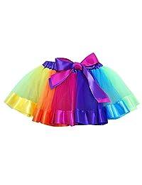 Happy Cherry Girls Rainbow Tutu Skirt Soft Tulle Ribbon Tiered Princess Dress