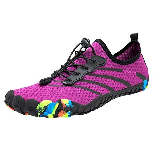 (Hivot Water Shoes Leisure Couples Sandals Summer Breathable Beach Swim Shoes Quick-Dry Drawstring Creek Diving Shoes Purple)