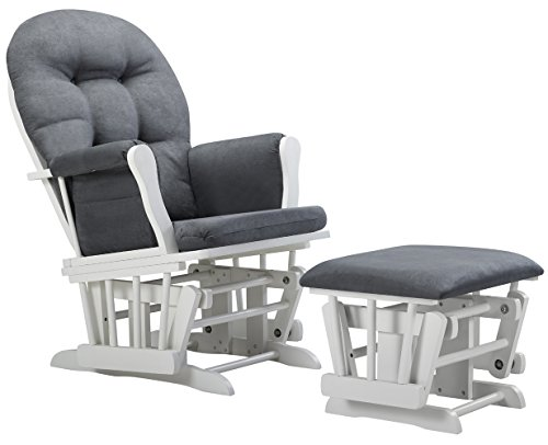 New Angel Line Windsor Glider and Ottoman Cushion, White/Dark Gray