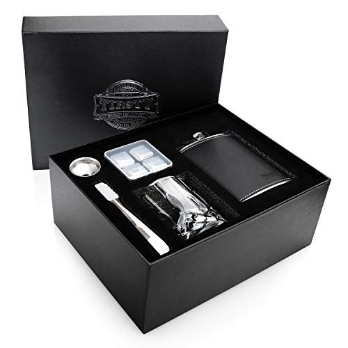 Tirsty - Premium Stainless Steel Whiskey Stones and Hip Flask Gift Set | Also Includes 11 oz Crystal Diamond Drinking Glass, Funnel and Tongs | Cool Men's Birthday, Father's Day & Groomsmen Gift