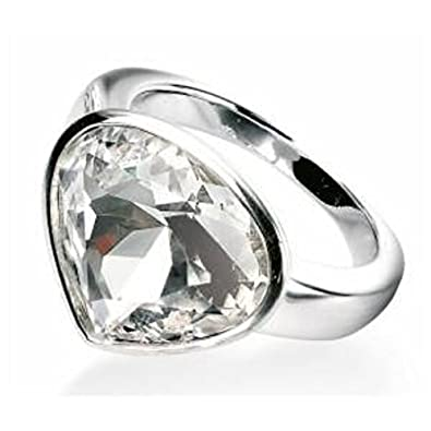 240702066 Sterling silver ring heart swarovski large clear stone (L): Amazon.co.uk:  Jewellery