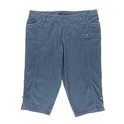 Style & Co Plus Size Blue Chambray Corded Capri Pants 14W