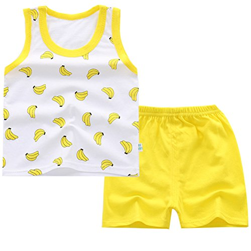 JanLEEsi Baby Vest and Shorts Infant Summer Clothing Set Tank Tops,Banana,12-15 Months -