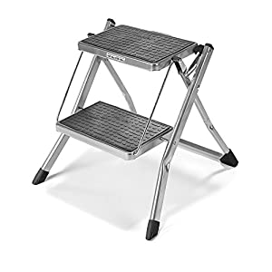 "Polder LDR-90401-87 Mini 2-Step Stool, 17"" High, 225 lb. (102 kg.) Capacity, Silver"