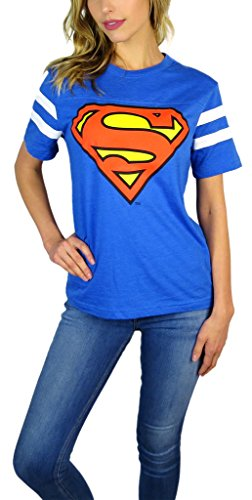 DC Comics Womens Superman Varsity Football Tee Blue Heather (Small, Blue Heather)]()