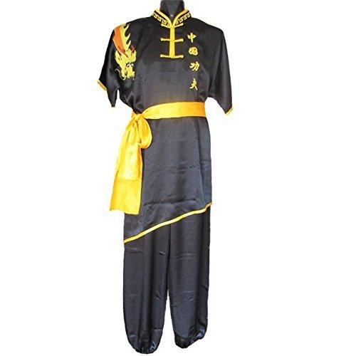 ZooBoo Chinese Traditional Martial Arts Uniform Short Sleeves Kung Fu Performance Clothing (Black, XXXL/180)
